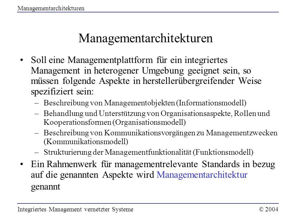 Soll eine Managementplattform für ein integriertes Management in heterogener Umgebung geeignet sein, so müssen folgende Aspekte in herstellerübergreif
