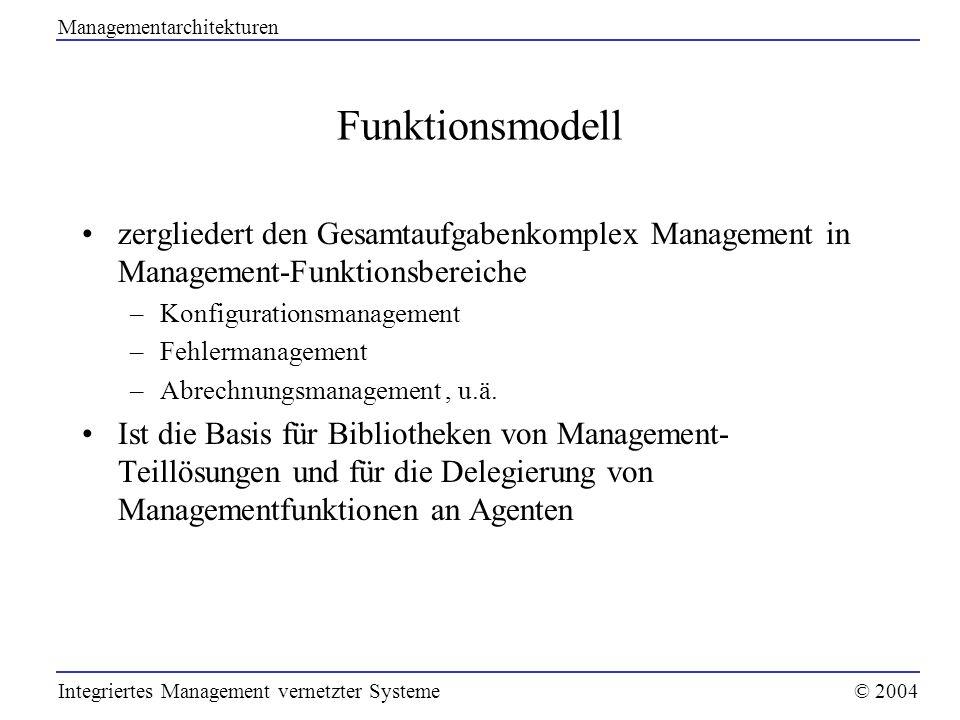 Funktionsmodell zergliedert den Gesamtaufgabenkomplex Management in Management-Funktionsbereiche –Konfigurationsmanagement –Fehlermanagement –Abrechnu