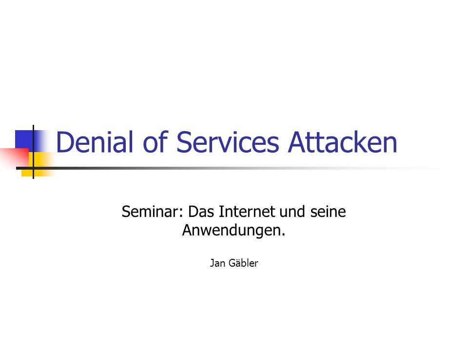 Begriff DoS (Denial of Service) oder DDoS (Distributed Denial of Service) bezeichnen Angriffe auf Server oder deren Dienste Ziel des Angriffes ist Dienst oder Server arbeitsunfähig zu machen DDoS bezeichnet koordinierten DoS Angriff mit Vielzahl von Systemen