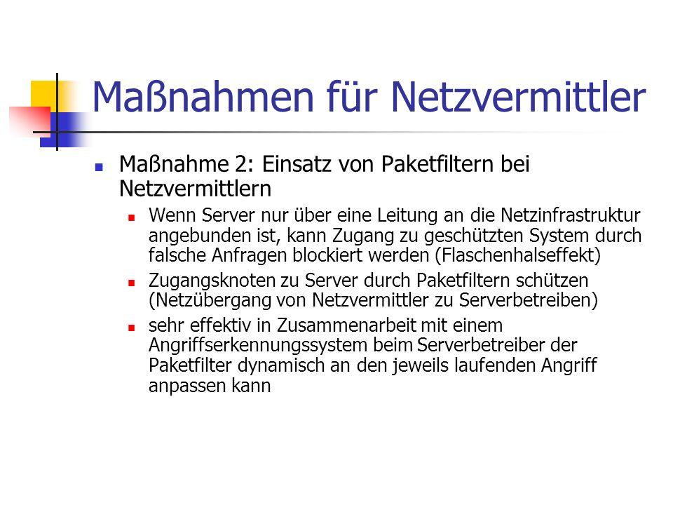Maßnahmen für Netzvermittler Maßnahme 2: Einsatz von Paketfiltern bei Netzvermittlern Wenn Server nur über eine Leitung an die Netzinfrastruktur angeb