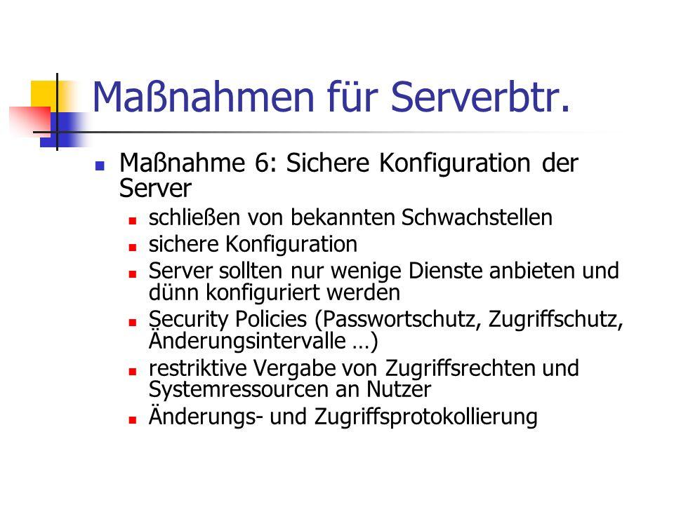 Maßnahmen für Serverbtr. Maßnahme 6: Sichere Konfiguration der Server schließen von bekannten Schwachstellen sichere Konfiguration Server sollten nur