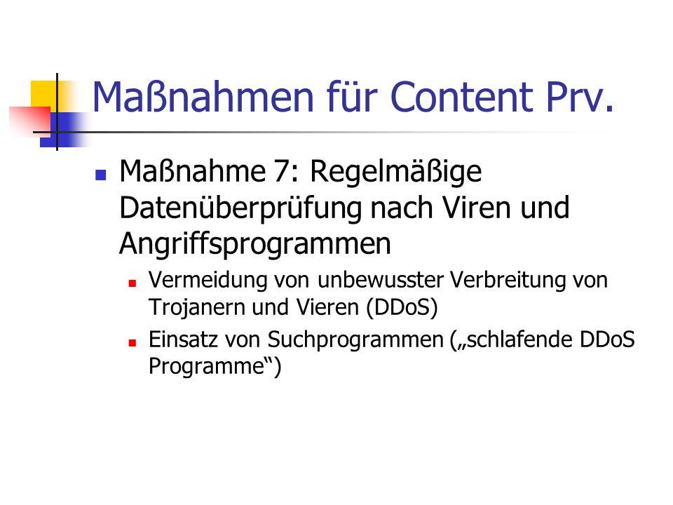 Maßnahmen für Content Prv. Maßnahme 7: Regelmäßige Datenüberprüfung nach Viren und Angriffsprogrammen Vermeidung von unbewusster Verbreitung von Troja