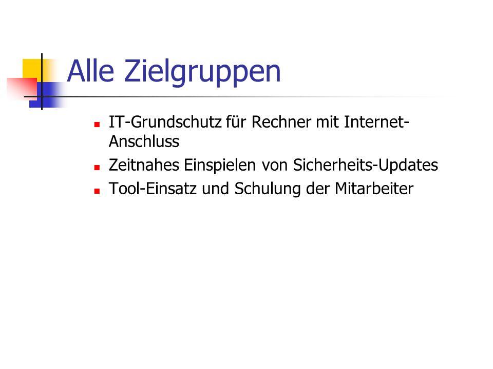 Alle Zielgruppen IT-Grundschutz für Rechner mit Internet- Anschluss Zeitnahes Einspielen von Sicherheits-Updates Tool-Einsatz und Schulung der Mitarbe