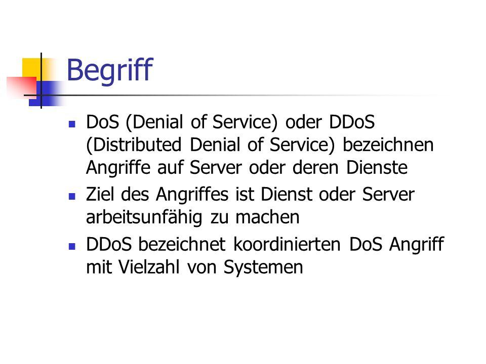 Begriff DoS (Denial of Service) oder DDoS (Distributed Denial of Service) bezeichnen Angriffe auf Server oder deren Dienste Ziel des Angriffes ist Die