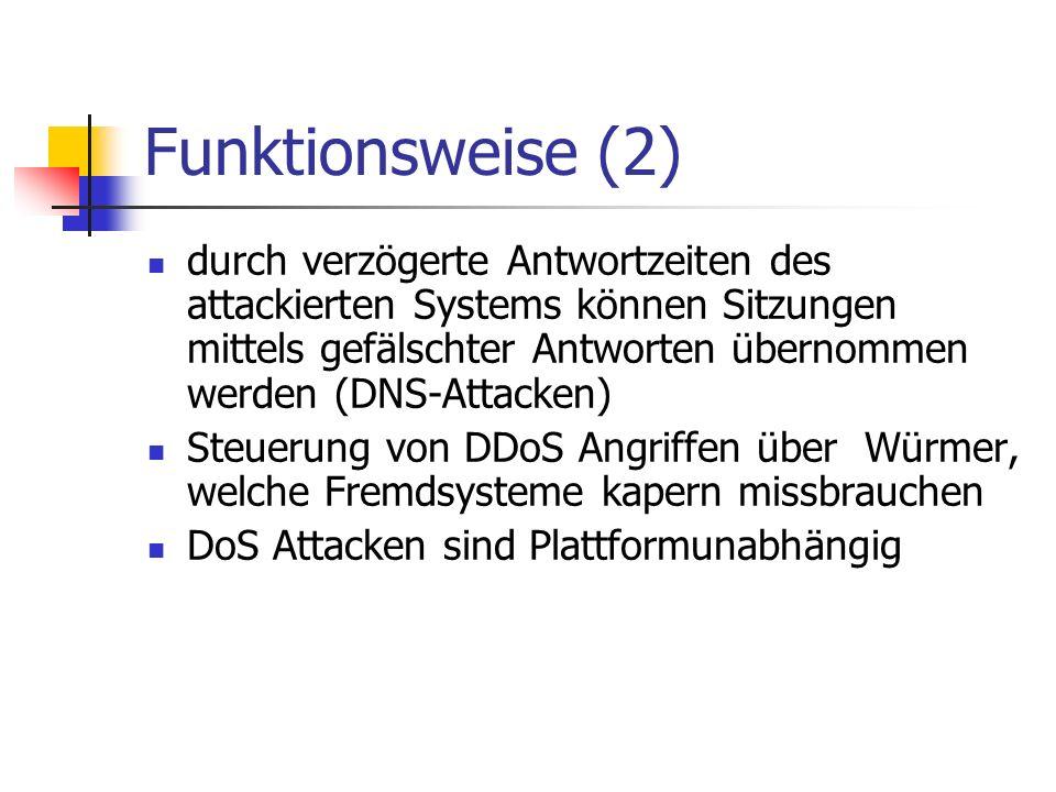 Bespiele für DoS Attacken MyDoom, 2004, Ziel Website von SCO SW Fehler in Routern der Firma Netgear, 2003, sämtliche Geräte glichen weltweit ihre Zeit bei einem Server der Universität von Wisconsin ab - Zusammenbruch des Zeitservers W32.Blaster, 2003, Ziel Website von Microsoft
