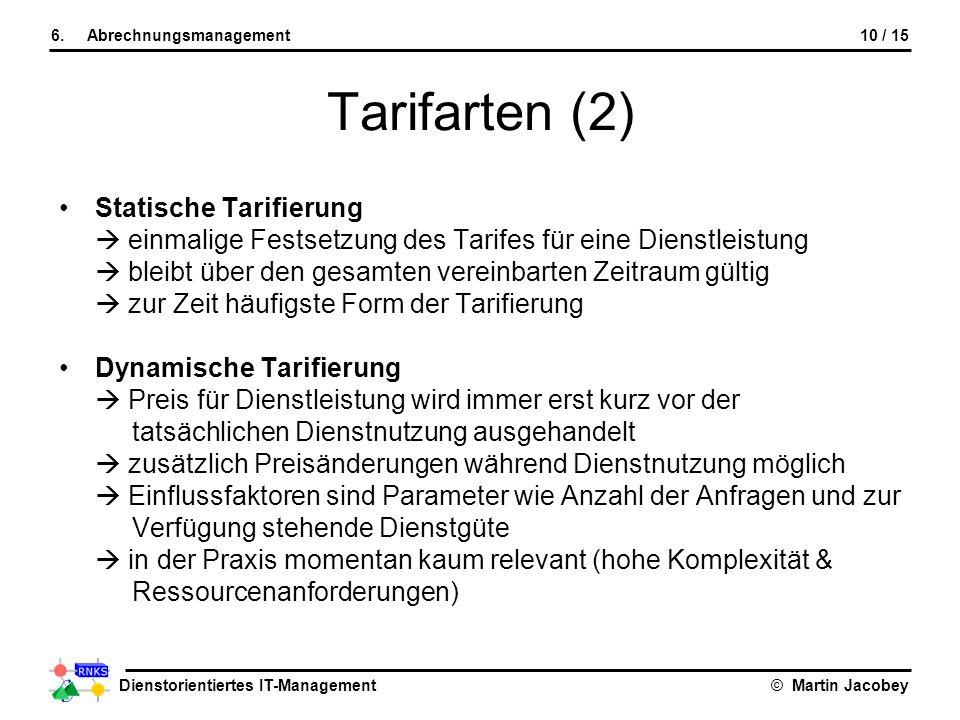 Dienstorientiertes IT-Management© Martin Jacobey 10 / 156.Abrechnungsmanagement Tarifarten (2) Statische Tarifierung einmalige Festsetzung des Tarifes