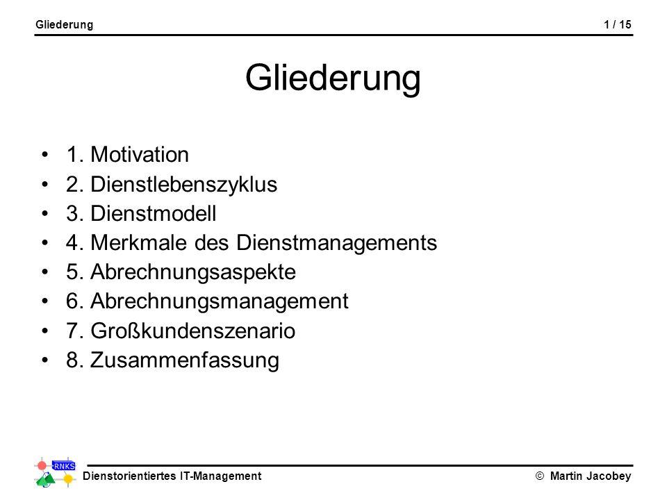 Dienstorientiertes IT-Management© Martin Jacobey Gliederung 1. Motivation 2. Dienstlebenszyklus 3. Dienstmodell 4. Merkmale des Dienstmanagements 5. A