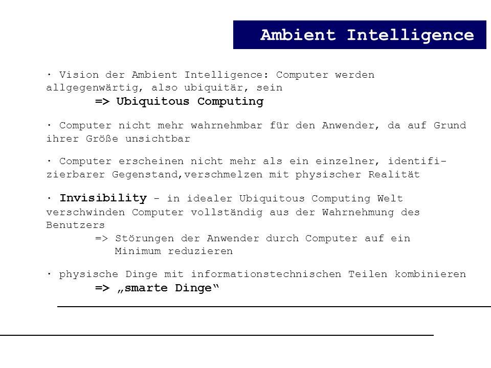 Ambient Intelligence · Vision der Ambient Intelligence: Computer werden allgegenwärtig, also ubiquitär, sein => Ubiquitous Computing · Computer nicht