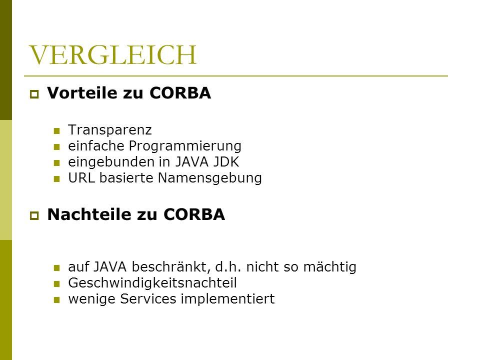 VERGLEICH Vorteile zu CORBA Transparenz einfache Programmierung eingebunden in JAVA JDK URL basierte Namensgebung Nachteile zu CORBA auf JAVA beschrän