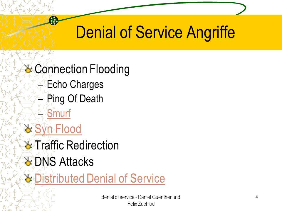 denial of service - Daniel Guenther und Felix Zachlod 15 Abschwächung und Aufklärung von DDoS – Angriffen Problematisch –1.