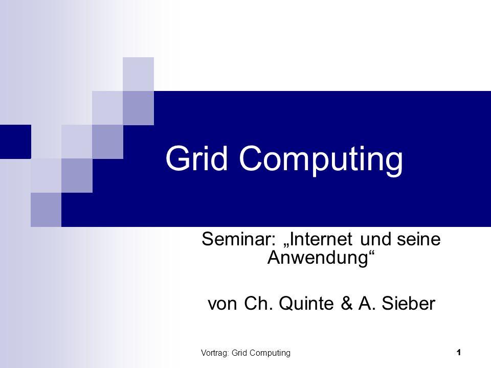 Vortrag: Grid Computing2 Inhaltsübersicht (1) Die Grid Idee Definition: Grid Systeme Erhoffte Vorteile und Ziele Architektur Softwarearchitektur Sicht Client / Server Was ist eine geeignete Aufgabe?