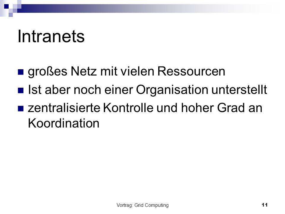 Vortrag: Grid Computing12 Internet Verbindet mehrere Organisationen (auch international) Sehr groß (viele Ressourcen, …) Wirft aber auch Probleme auf: Ressourcen geographisch weit entfernt Keine Zentrale Kontrolle mehr
