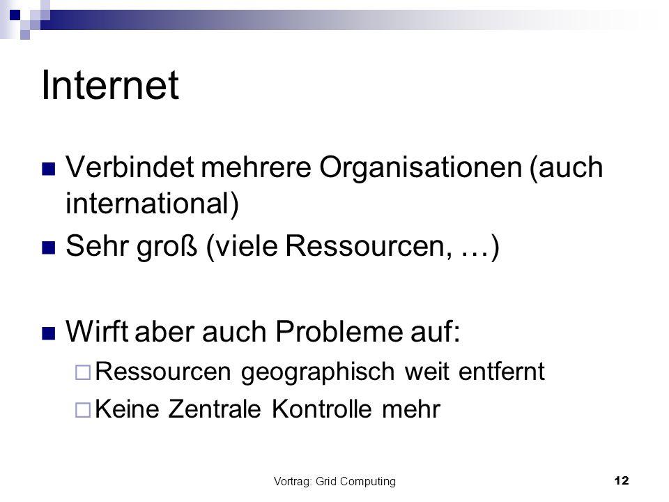 Vortrag: Grid Computing12 Internet Verbindet mehrere Organisationen (auch international) Sehr groß (viele Ressourcen, …) Wirft aber auch Probleme auf: