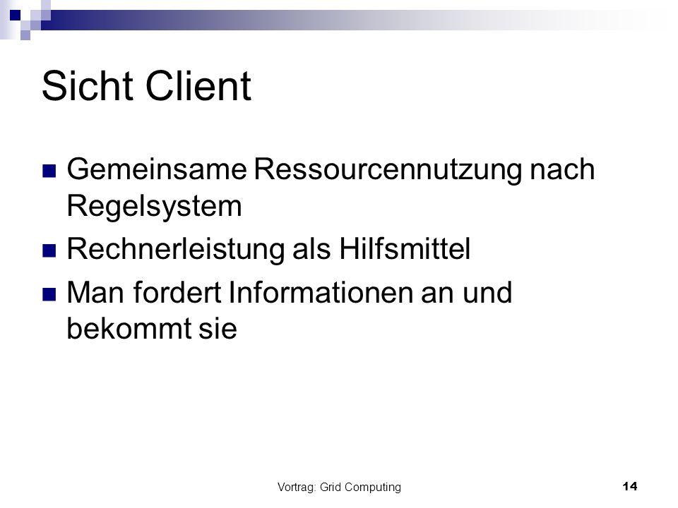 Vortrag: Grid Computing14 Sicht Client Gemeinsame Ressourcennutzung nach Regelsystem Rechnerleistung als Hilfsmittel Man fordert Informationen an und