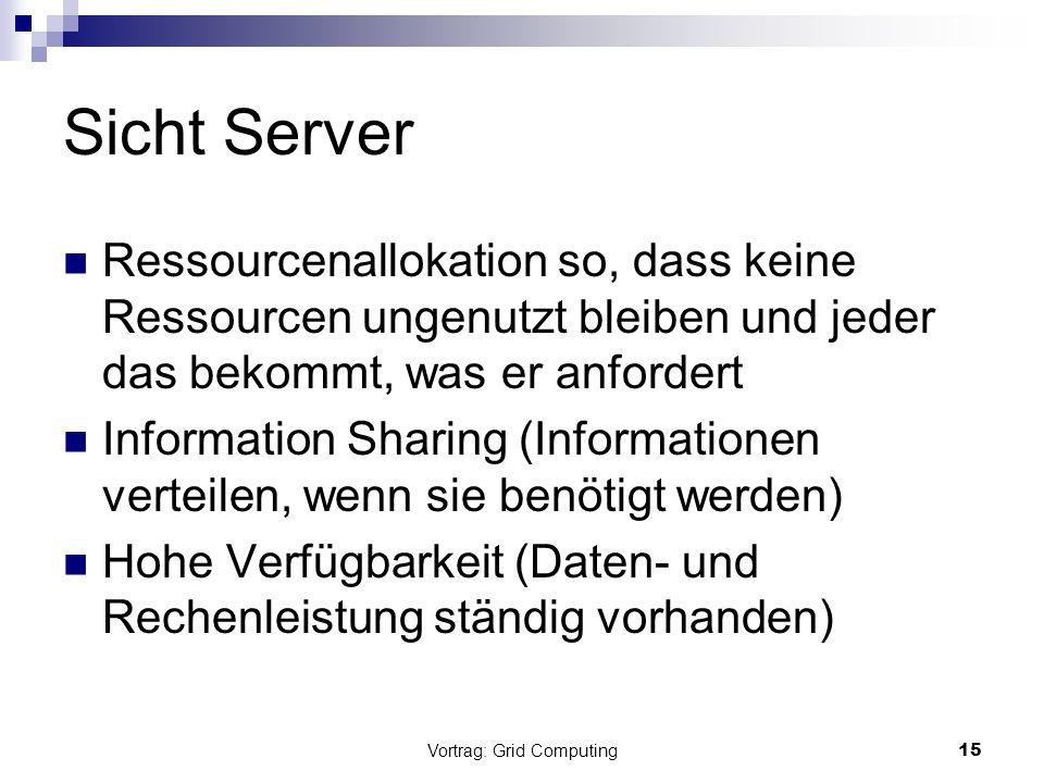 Vortrag: Grid Computing15 Sicht Server Ressourcenallokation so, dass keine Ressourcen ungenutzt bleiben und jeder das bekommt, was er anfordert Inform