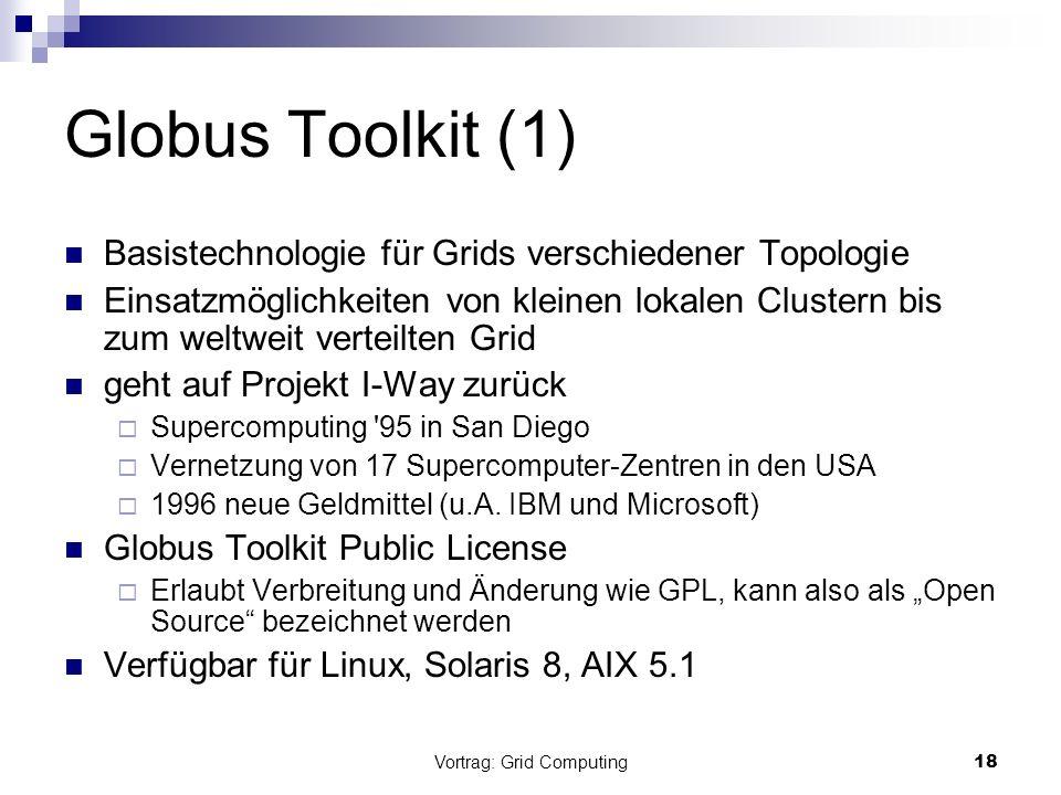 Vortrag: Grid Computing18 Globus Toolkit (1) Basistechnologie für Grids verschiedener Topologie Einsatzmöglichkeiten von kleinen lokalen Clustern bis
