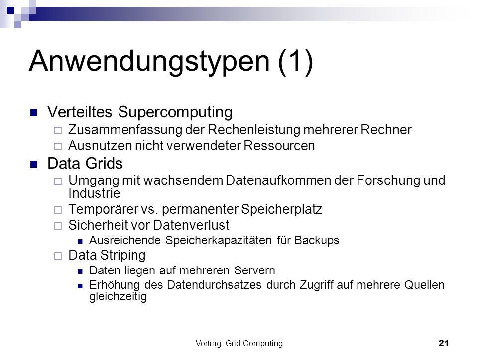 Vortrag: Grid Computing21 Anwendungstypen (1) Verteiltes Supercomputing Zusammenfassung der Rechenleistung mehrerer Rechner Ausnutzen nicht verwendete
