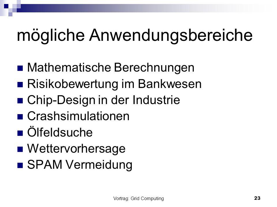 Vortrag: Grid Computing23 mögliche Anwendungsbereiche Mathematische Berechnungen Risikobewertung im Bankwesen Chip-Design in der Industrie Crashsimula