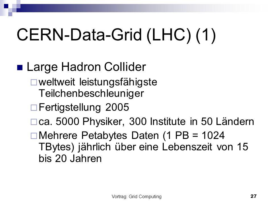 Vortrag: Grid Computing28 CERN-Data-Grid (LHC) (2) Tier n-Konzept: Tier-0 (CERN) Rohdatenspeicherung, Rekonstruktion und Sammlung von Event-Daten Tier-1(in DE, FR, IT, UK, US) Analyse und Speicherung Tier-2 regionale Zentren u.a.
