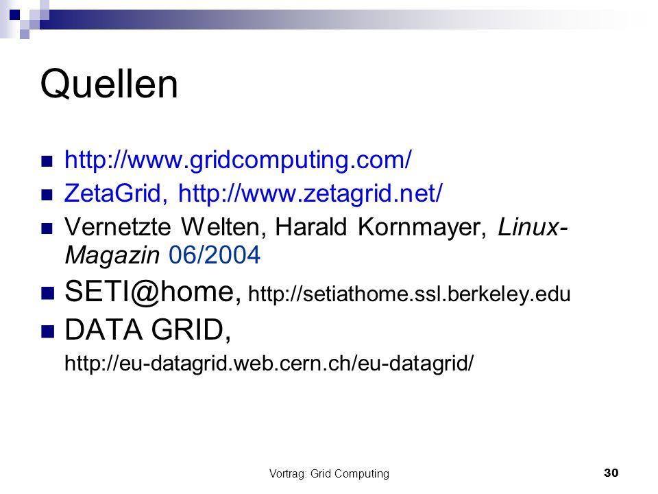 Vortrag: Grid Computing30 Quellen http://www.gridcomputing.com/ ZetaGrid, http://www.zetagrid.net/ Vernetzte Welten, Harald Kornmayer, Linux- Magazin