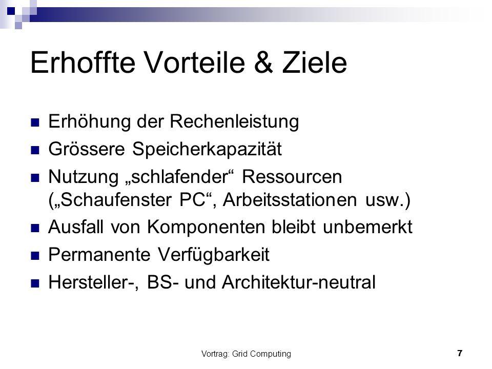 Vortrag: Grid Computing7 Erhoffte Vorteile & Ziele Erhöhung der Rechenleistung Grössere Speicherkapazität Nutzung schlafender Ressourcen (Schaufenster