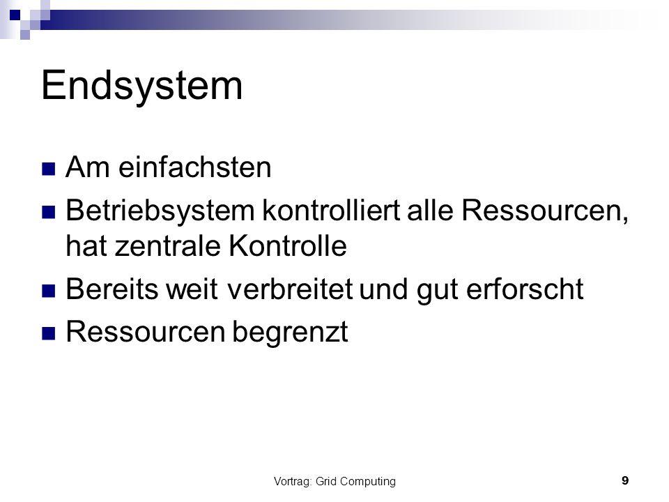 Vortrag: Grid Computing9 Endsystem Am einfachsten Betriebsystem kontrolliert alle Ressourcen, hat zentrale Kontrolle Bereits weit verbreitet und gut e