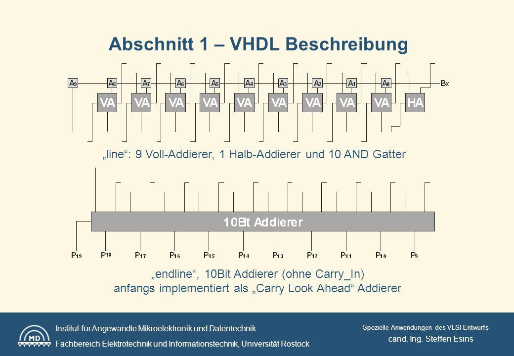 Institut für Angewandte Mikroelektronik und Datentechnik Fachbereich Elektrotechnik und Informationstechnik, Universität Rostock Spezielle Anwendungen des VLSI-Entwurfs Abschnitt 1 – VHDL Beschreibung cand.
