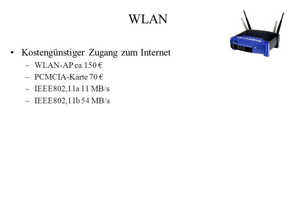 WLAN Kostengünstiger Zugang zum Internet –WLAN-AP ca 150 –PCMCIA-Karte 70 –IEEE802,11a 11 MB/s –IEEE802,11b 54 MB/s