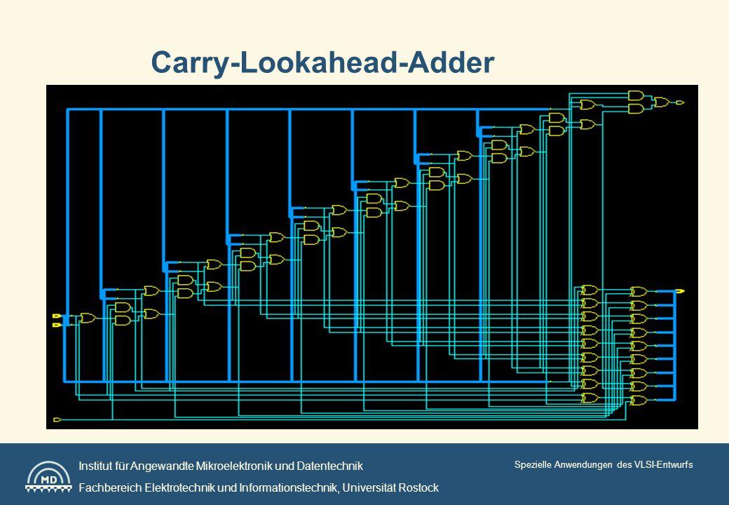 Institut für Angewandte Mikroelektronik und Datentechnik Fachbereich Elektrotechnik und Informationstechnik, Universität Rostock Spezielle Anwendungen des VLSI-Entwurfs Carry-Lookahead-Adder