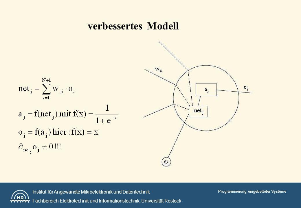 Institut für Angewandte Mikroelektronik und Datentechnik Fachbereich Elektrotechnik und Informationstechnik, Universität Rostock Programmierung eingebetteter Systeme verbessertes Modell
