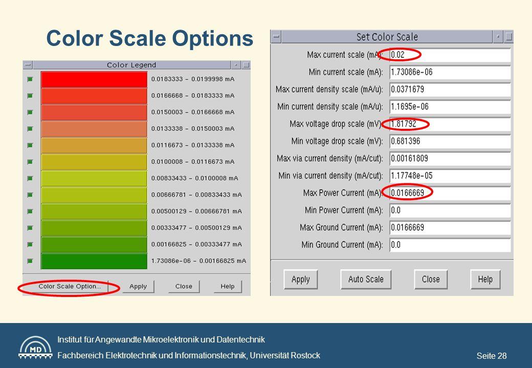 Institut für Angewandte Mikroelektronik und Datentechnik Fachbereich Elektrotechnik und Informationstechnik, Universität Rostock Seite 28 Color Scale Options