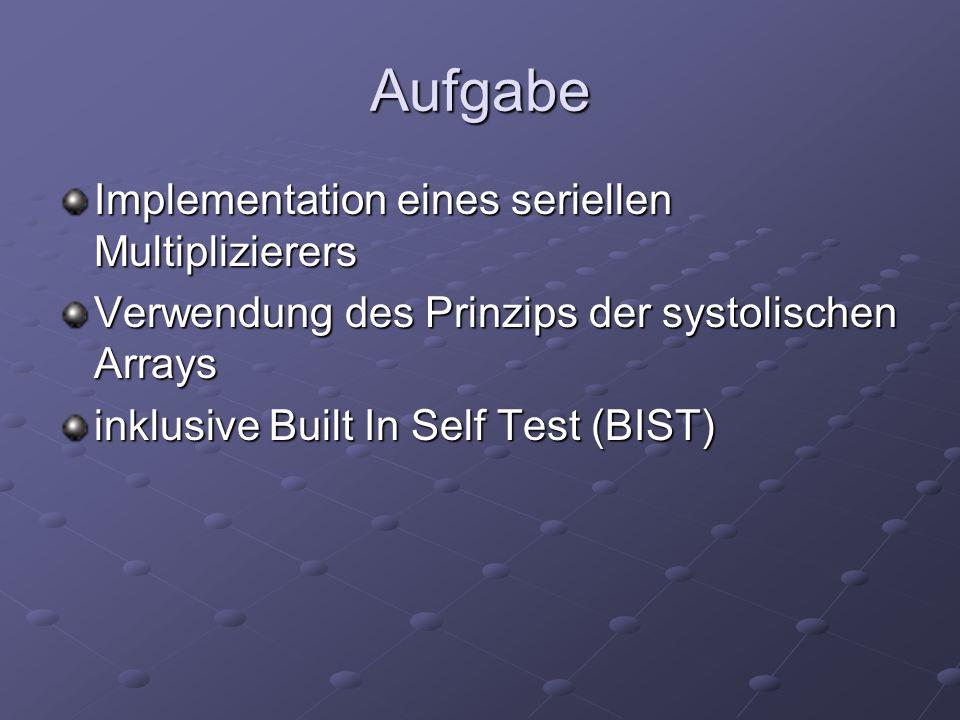 Aufgabe Implementation eines seriellen Multiplizierers Verwendung des Prinzips der systolischen Arrays inklusive Built In Self Test (BIST)
