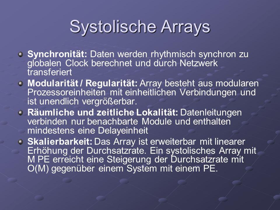 Systolische Arrays Synchronität: Daten werden rhythmisch synchron zu globalen Clock berechnet und durch Netzwerk transferiert Modularität / Regularität: Array besteht aus modularen Prozessoreinheiten mit einheitlichen Verbindungen und ist unendlich vergrößerbar.