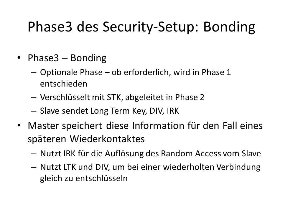 Phase3 des Security-Setup: Bonding Phase3 – Bonding – Optionale Phase – ob erforderlich, wird in Phase 1 entschieden – Verschlüsselt mit STK, abgeleit
