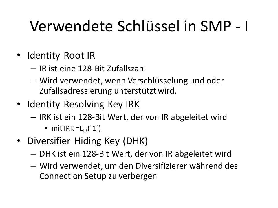 Verwendete Schlüssel in SMP - II Encryption Root (ER) – ER ist eine 128-Bit Zufallszahl – Wird verwendet, wenn die Slave Rolle unterstützt wird Long Term Key (LTK) – LTK ist ein 128-Bit Wert, der von ER abgleitet wird mit LTK = E ER (DIV) – LTK generiert den Short Term Key (STK), der verwendet wird, um die Verbindung zu verschlüsseln – LTK wird beim Master gespeichert