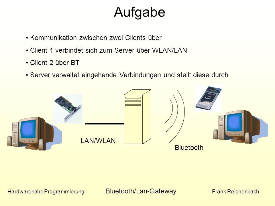 Aufgabe Hardwarenahe Programmierung Bluetooth/Lan-Gateway Frank Reichenbach LAN/WLAN Bluetooth Kommunikation zwischen zwei Clients über Client 1 verbindet sich zum Server über WLAN/LAN Client 2 über BT Server verwaltet eingehende Verbindungen und stellt diese durch
