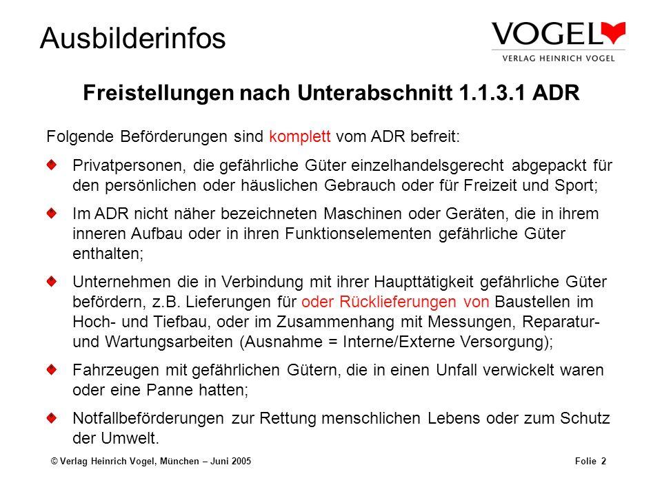 Ausbilderinfos © Verlag Heinrich Vogel, München – Juni 2005Folie 2 Freistellungen nach Unterabschnitt 1.1.3.1 ADR Privatpersonen, die gefährliche Güte