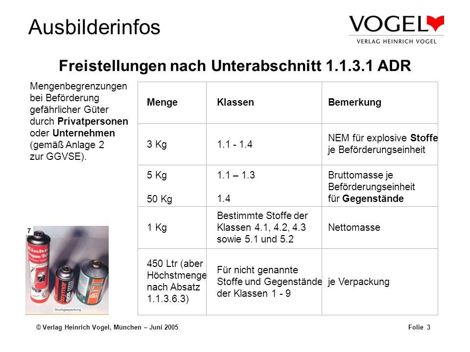 Ausbilderinfos © Verlag Heinrich Vogel, München – Juni 2005Folie 3 MengeKlassenBemerkung 3 Kg1.1 - 1.4 NEM für explosive Stoffe je Beförderungseinheit
