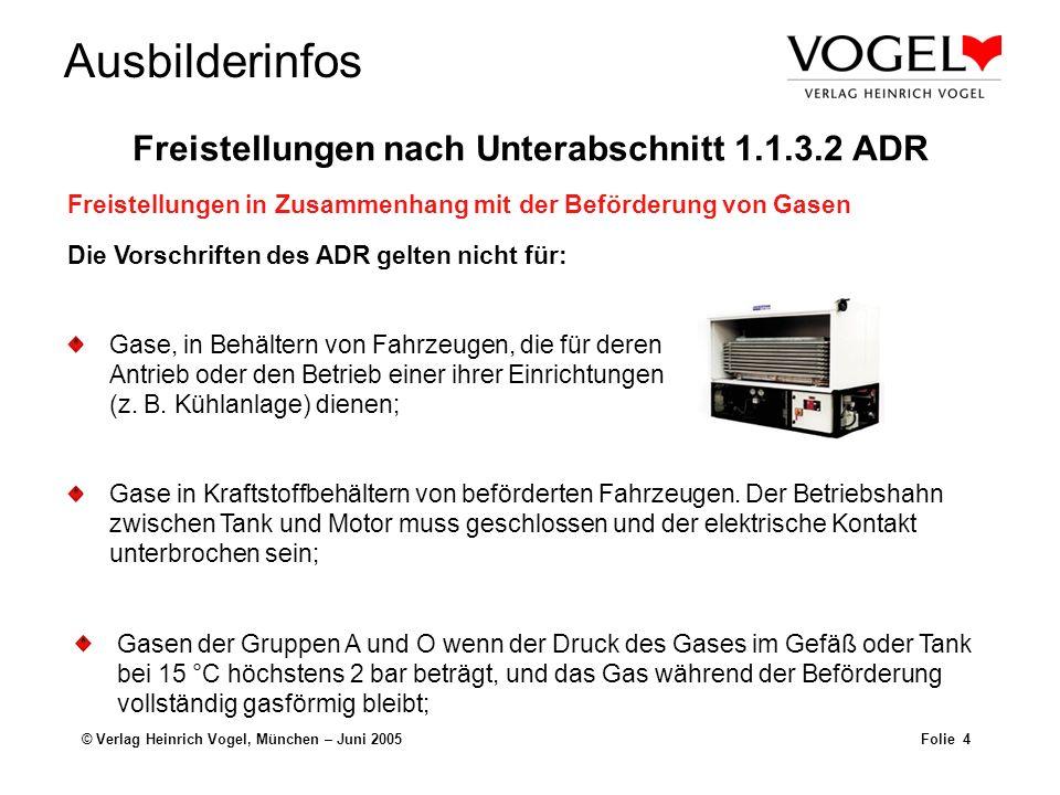 Ausbilderinfos © Verlag Heinrich Vogel, München – Juni 2005Folie 4 Gase, in Behältern von Fahrzeugen, die für deren Antrieb oder den Betrieb einer ihr