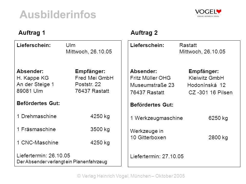 © Verlag Heinrich Vogel, München – Oktober 2005 Ausbilderinfos Auftrag 1 Lieferschein: Ulm Mittwoch, 26.10.05 Absender: Empfänger: H. Kappe KG Fred Me