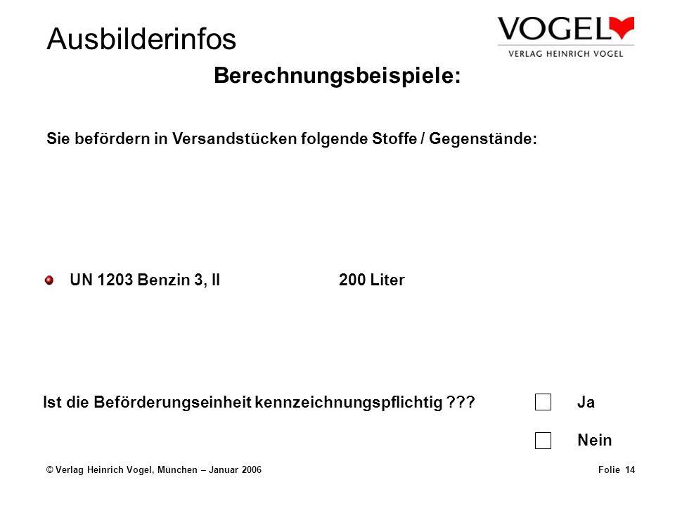 Ausbilderinfos © Verlag Heinrich Vogel, München – Januar 2006Folie 14 Berechnungsbeispiele: UN 1203 Benzin 3, II200 Liter Sie befördern in Versandstücken folgende Stoffe / Gegenstände: Ist die Beförderungseinheit kennzeichnungspflichtig ???Ja Nein