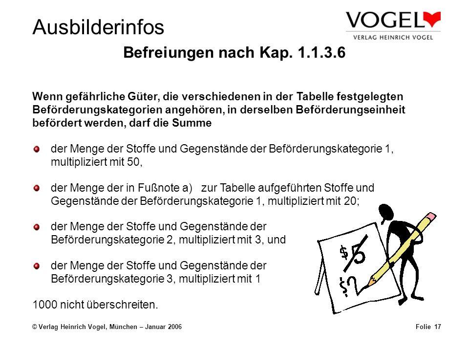 © Verlag Heinrich Vogel, München – Januar 2006Folie 16 UN 1203 Benzin 3, II200 Liter Sie befördern in Versandstücken folgende Stoffe / Gegenstände: Ist die Beförderungseinheit kennzeichnungspflichtig Ja Nein Berechnungsbeispiele: Kleiner als 333