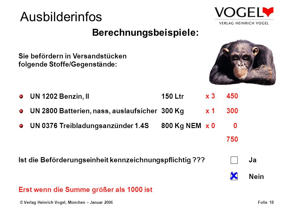 Ausbilderinfos © Verlag Heinrich Vogel, München – Januar 2006Folie 18 Sie befördern in Versandstücken folgende Stoffe/Gegenstände: Ist die Beförderungseinheit kennzeichnungspflichtig ???Ja Nein UN 1202 Benzin, II150 Ltr UN 2800 Batterien, nass, auslaufsicher300 Kg UN 0376 Treibladungsanzünder 1.4S800 Kg NEM x 1300 x 00 x 3450 750 Erst wenn die Summe größer als 1000 ist Berechnungsbeispiele: