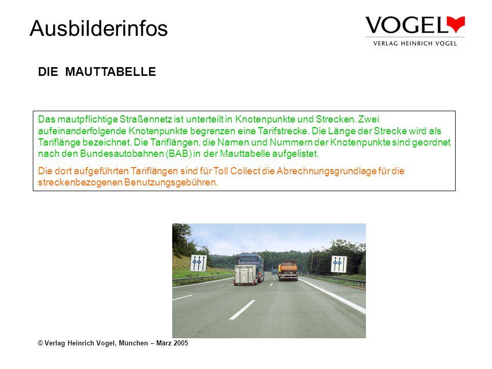 Ausbilderinfos © Verlag Heinrich Vogel, München – März 2005 DIE MAUTTABELLE Das mautpflichtige Straßennetz ist unterteilt in Knotenpunkte und Strecken