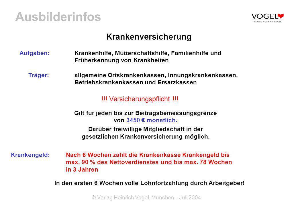 Ausbilderinfos © Verlag Heinrich Vogel, München – Juli 2004 Krankenversicherung Aufgaben: Krankenhilfe, Mutterschaftshilfe, Familienhilfe und Früherke