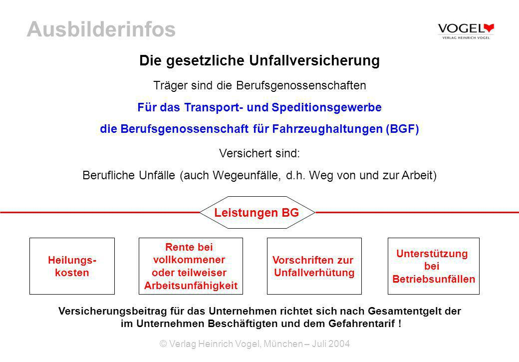 Ausbilderinfos © Verlag Heinrich Vogel, München – Juli 2004 Die gesetzliche Unfallversicherung Träger sind die Berufsgenossenschaften Für das Transpor