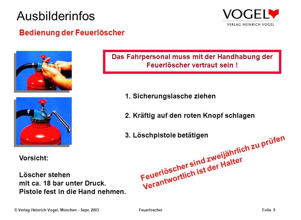 Uwe@Hildach.de Ausbilderinfos © Verlag Heinrich Vogel, München - Sept. 2003 Feuerlöscher Folie 8 Übergangsvorschriften Der Unterabschnitt 1.6.5.6 ADR:
