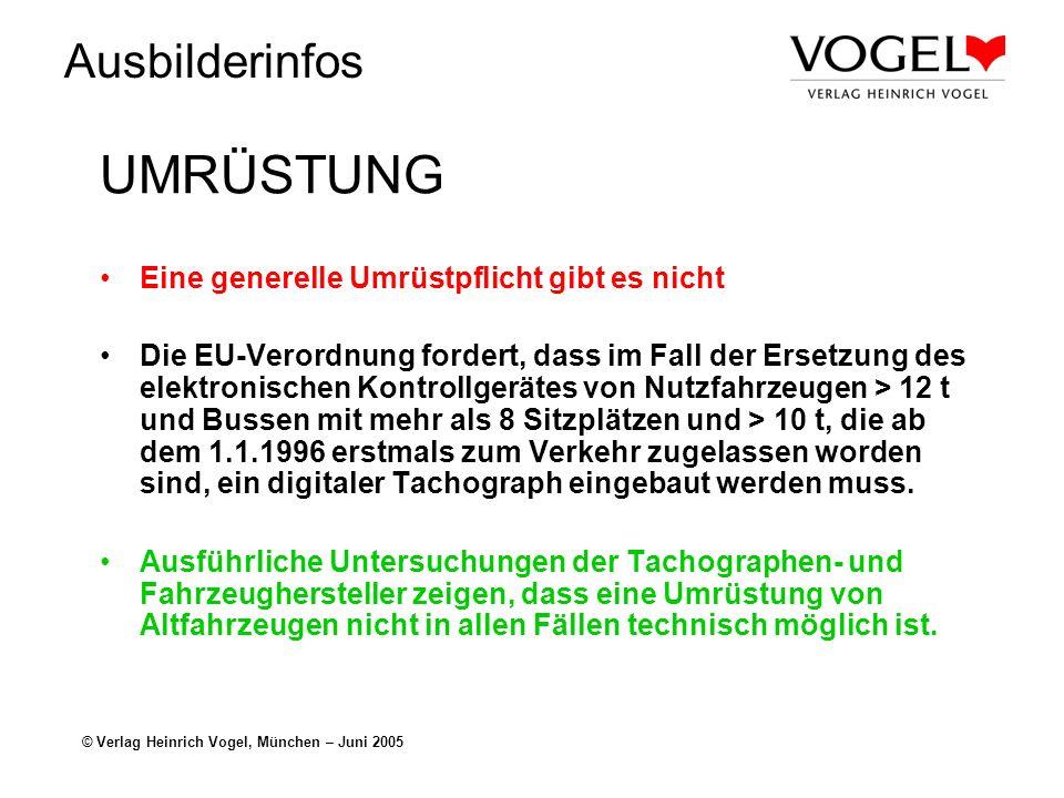 Ausbilderinfos © Verlag Heinrich Vogel, München – Juni 2005 Aktuelle Lenk- und Ruhezeiten Die registrierten Lenk- und Ruhezeiten und deren Summenwerte können angezeigt und ausgedruckt werden.