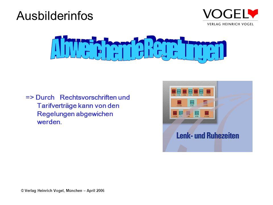 Ausbilderinfos © Verlag Heinrich Vogel, München – April 2006 => Durch Rechtsvorschriften und Tarifverträge kann von den Regelungen abgewichen werden.