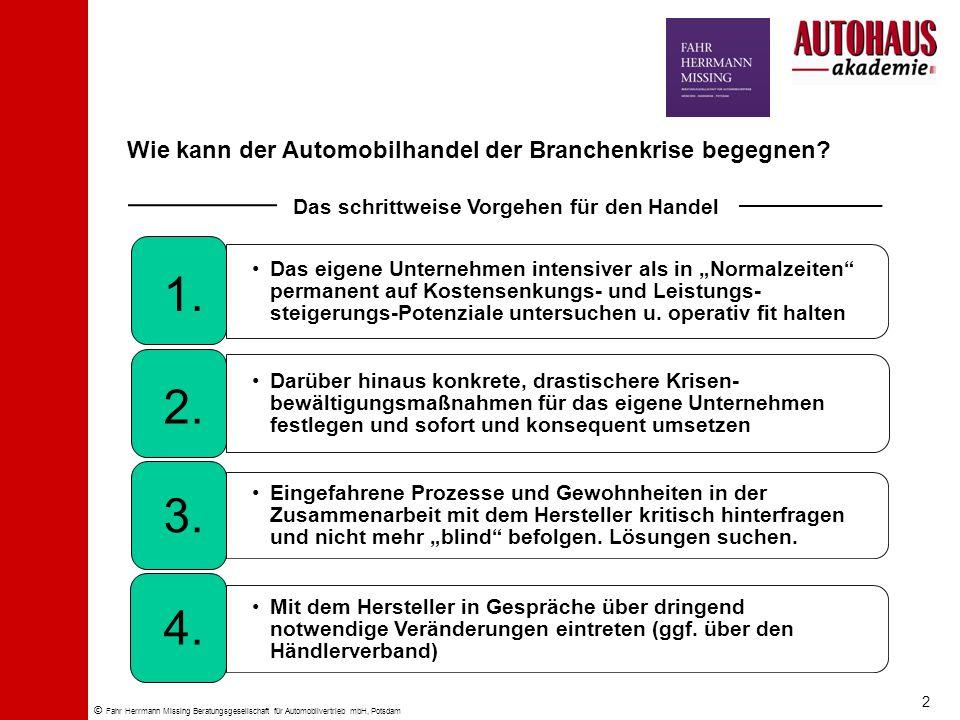 © Fahr Herrmann Missing Beratungsgesellschaft für Automobilvertrieb mbH, Potsdam Wie kann der Automobilhandel der Branchenkrise begegnen? Das eigene U